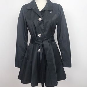 Betsey Johnson Trench Coat w/Floral Buttons